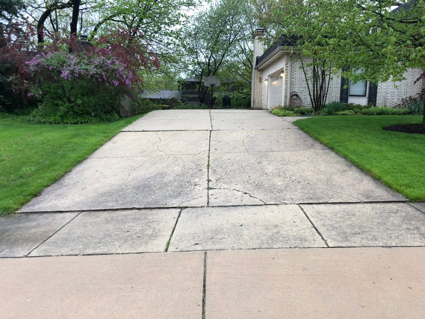 old cracked driveway